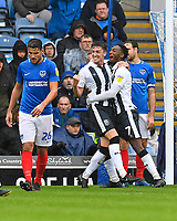 Alex Lacey of Gillingham middle celebrates scoring the second goal with Brandon Hanlan as Portsmouth skipper Gareth Evans of Portsmouth left looks deljected during Portsmouth vs Gillingham, Sky Bet EFL League 1 Football at Fratton Park on 6th October 2018
