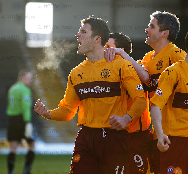 John Sutton scores the opening goal for Motherwell and celebrates