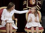Coronation ceremony in Madrid.  Queen Letizia of Spain at Congreso de los Diputados with their children Princess Leonor. June 19 ,2014. (ALTERPHOTOS/EFE/Pool)