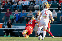 Rochester, NY - Friday June 17, 2016: Western New York Flash midfielder Samantha Mewis (5), Portland Thorns FC midfielder Allie Long (10) after a regular season National Women's Soccer League (NWSL) match between the Western New York Flash and the Portland Thorns FC at Rochester Rhinos Stadium.