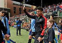 Portland, OR - Saturday April 29, 2017: Adrianna Franch prior to a regular season National Women's Soccer League (NWSL) match between the Portland Thorns FC and the Chicago Red Stars at Providence Park.