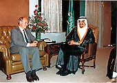 United States Secretary of Defense Dick Cheney meets with the ruler of Saudi Arabia, King Kahd, at the Royal Palace in Jeddah, Saudi Arabia on  August 20, 1990.  The visit was part of a four day, six country tour of the Middle-east to assess the views of moderate Arab governments in the region and to keep them apprised of United States and allied initiatives to reverse the effect of Iraqi aggression against Kuwait.<br /> Mandatory Credit: Robert D. Ward - DoD via CNP