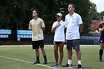 21 August 2016: UCF head coach Tiffany Roberts Sahaydak (center) with assistant coaches Tim Sahaydak (right) and Chris Cummings (left). The Duke University Blue Devils played the University of Central Florida Knights in a 2016 NCAA Division I Women's Soccer match. Duke won the game 3-1.