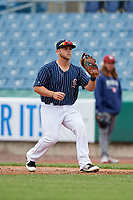 Syracuse Chiefs first baseman Jacob Wilson (19) waits to receive a throw during a game against the Lehigh Valley IronPigs on May 20, 2018 at NBT Bank Stadium in Syracuse, New York.  Lehigh Valley defeated Syracuse 5-2.  (Mike Janes/Four Seam Images)