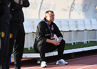 20200304  Parchal , Portugal : Belgian head coach Ives Serneels pictured during the female football game between the national teams of New Zealand , known as the Football Ferns and Belgium called the Red Flames on the first matchday of the Algarve Cup 2020 , a prestigious friendly womensoccer tournament in Portugal , on wednesday 4 th March 2020 in Parchal , Portugal . PHOTO SPORTPIX.BE | DAVID CATRY