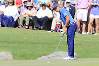 Rickie Fowler (USA) putts on the 18th green during Friday's Round 2 of the 2017 PGA Championship held at Quail Hollow Golf Club, Charlotte, North Carolina, USA. 11th August 2017.<br /> Picture: Eoin Clarke | Golffile<br /> <br /> <br /> All photos usage must carry mandatory copyright credit (&copy; Golffile | Eoin Clarke)