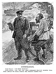 "Consolation. Soviet Peasant. ""I'm being starved!"" Soviet official. ""Yes; but you must remember that by dumping your food abroad we shall starve the foreign farmer too."" (an InterWar cartoon shows Russian farmers at the docks sending Wheat For Export)"