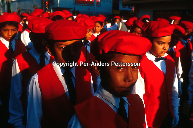 School children in a parade on September 16, 1999, in Nuevo Laredo, Mexico. Mexicans celebrated Independence Day on September 16 and the entire country are watching parades and fireworks..(Photo: Per-Anders Pettersson/ Getty Images)