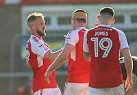 Fleetwood Town&rsquo;s Paddy Madden celebrates scoring his sides second goal with team mates.<br /> <br /> <br /> Photographer Leila Coker/CameraSport<br /> <br /> The EFL Sky Bet League One - Fleetwood Town v Walsall - Saturday 5th May 2018 - Highbury Stadium - Fleetwood<br /> <br /> World Copyright &copy; 2018 CameraSport. All rights reserved. 43 Linden Ave. Countesthorpe. Leicester. England. LE8 5PG - Tel: +44 (0) 116 277 4147 - admin@camerasport.com - www.camerasport.com