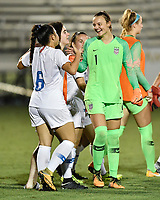 Lakewood Ranch, FL - Wednesday, October 10, 2018:   Julia Dohle, Sunshine Fontes, celebration during a U-17 USWNT match against Colombia.  The U-17 USWNT defeated Colombia 4-1.