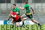 Pa Kilkenny Glenbeigh Glencar in action against Aidan McGarrity and Thomas Bloomer Rock Saint Patricks in the Junior Football All Ireland Final in Croke Park on Sunday.
