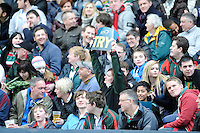 Fans enjoying the LV= Cup Final match between Leicester Tigers and Northampton Saints at Sixways Stadium, Worcester on Sunday 18 March 2012 (Photo by Rob Munro, Fotosports International)