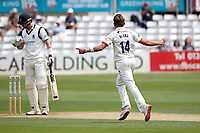 Aaron Beard of Essex celebrates taking the wicket of Adam Hose during Essex CCC vs Warwickshire CCC, Specsavers County Championship Division 1 Cricket at The Cloudfm County Ground on 14th July 2019