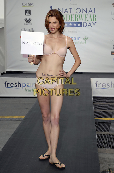 "NATORI MODEL.Freshpair.com presents the 5th annual ""National Underwear Day"" at Times Square, New York, New York, USA..August 7th, 2007.full length flip flops catwalk knickers bra lingerie.CAP/ADM/BL.©Bill Lyons/AdMedia/Capital Pictures *** Local Caption ***"