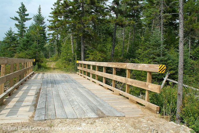 Wooden Bridge on Sawyer River Trail during the summer months in the White Mountains, New Hampshire USA. This area was logged during the Sawyer River Railroad logging era.