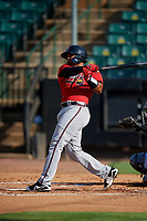 Mississippi Braves Carlos Martinez (54) at bat during a Southern League game against the Jackson Generals on July 23, 2019 at The Ballpark at Jackson in Jackson, Tennessee.  Jackson defeated Mississippi 2-0 in the first game of a doubleheader.  (Mike Janes/Four Seam Images)