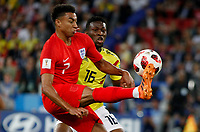 MOSCU - RUSIA, 03-07-2018: Jefferson LERMA (Der) jugador de Colombia disputa el balón con Jesse LINGARD (Izq) jugador de Inglaterra durante partido de octavos de final por la Copa Mundial de la FIFA Rusia 2018 jugado en el estadio del Spartak en Moscú, Rusia. / Jefferson LERMA (R) player of Colombia fights the ball with Jesse LINGARD (L) player of England during match of the round of 16 for the FIFA World Cup Russia 2018 played at Spartak stadium in Moscow, Russia. Photo: VizzorImage / Julian Medina / Cont