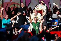 Papa Francesco incontra i seguaci del Rinnovamento nello Spirito allo Stadio Olimpico di Roma, 1 giugno 2014.<br /> Pope Francis meets faithful of the Charismatic Movement at Rome's Olympic stadium, 1 June 2014.<br /> UPDATE IMAGES PRESS/Isabella Bonotto<br /> <br /> STRICTLY ONLY FOR EDITORIAL USE