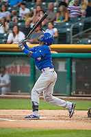 Arismendy Alcantara (3) of the Iowa Cubs at bat against the Salt Lake Bees in Pacific Coast League action at Smith's Ballpark on August 20, 2015 in Salt Lake City, Utah. The Cubs defeated the Bees 13-2. (Stephen Smith/Four Seam Images)