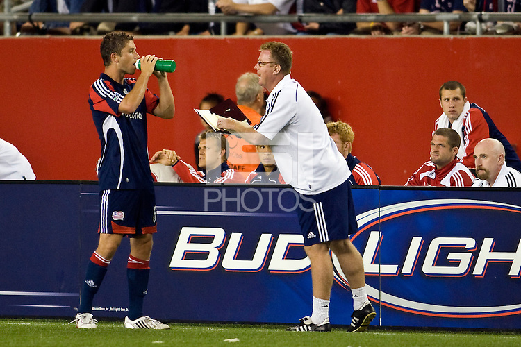 New England Revolution head coach Steve Nicol talks with defender Chris Tierney (8). The New England Revolution defeated the Houston Dynamo 2-2 (6-5) in penalty kicks in the SuperLiga finals at Gillette Stadium in Foxborough, MA, on August 5, 2008.