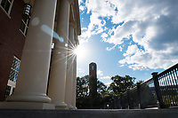 Old Main Academic Center - columns with Chapel of Memories tower in background.<br />  (photo by Megan Bean / &copy; Mississippi State University)