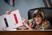 United States Representative Rosa DeLauro (Democrat of Connecticut) and chairwoman of the House Appropriations Subcommittee on Labor, Health and Human Services, Education, and Related Agencies, holds a chart during a hearing on Capitol Hill in Washington, D.C., U.S., on Thursday, June 4, 2020.<br /> Credit: Al Drago / Pool via CNP/AdMedia