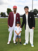 9th December 2017, Seddon Park, Hamilton, New Zealand; International Test Cricket, 2nd Test, Day 1, New Zealand versus West Indies;  Captains Kraigg Brathwaite and Kane Williamson with the ANZ coin toss winner