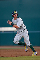Scott Heineman #6 of the Oregon Ducks runs the bases during a game against the USC Trojans at Dedeaux Field on March 15, 2013 in Los Angeles, California. (Larry Goren/Four Seam Images)