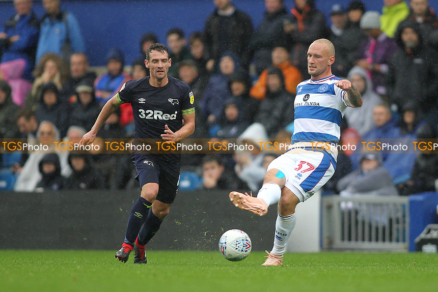 Toni Leistner of Queens Park Rangers and Craig Bryson of Derby County during Queens Park Rangers vs Derby County, Sky Bet EFL Championship Football at Loftus Road Stadium on 6th October 2018