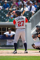 Emerson Landoni (27) of the Gwinnett Braves at bat against the Charlotte Knights at BB&T BallPark on May 22, 2016 in Charlotte, North Carolina.  The Knights defeated the Braves 9-8 in 11 innings.  (Brian Westerholt/Four Seam Images)