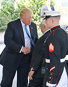 United States President Donald J. Trump welcomes President Mahmoud Abbas of the Palestinian Authority at the White House in Washington, DC on Wednesday, May 3, 2017.<br /> Credit: Ron Sachs / CNP