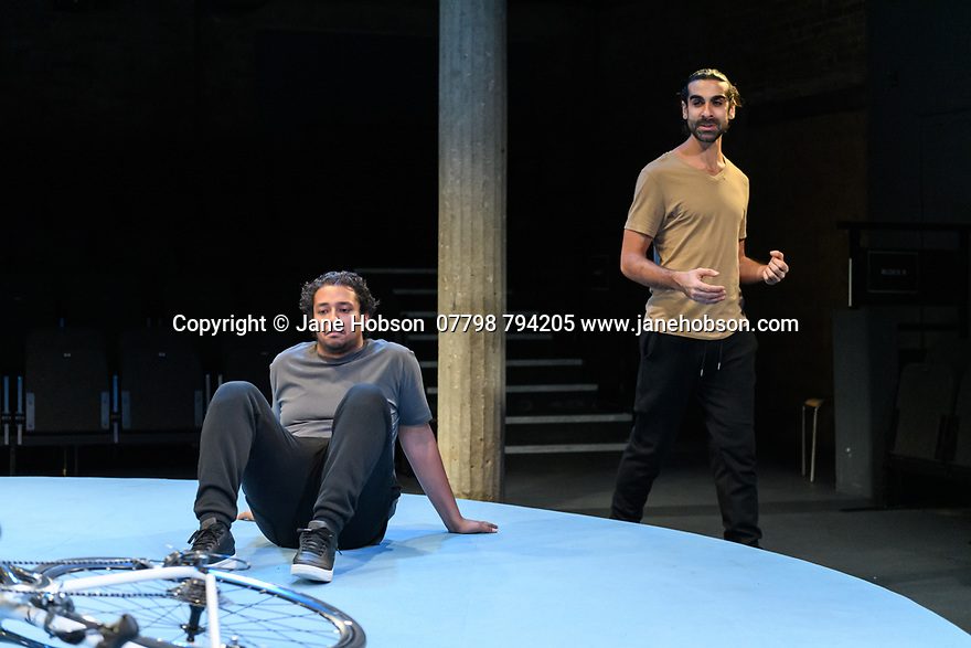 """The Arrival"", written and directed by Bijan Sheibani, opems at the Bush Theatre. Set and costume design is by Samal Black, lighting design by Oliver Fenwick, movement direction by Aline David. The Picture shows: Irfan Shamji (Samad), Scott Karim (Tom)"