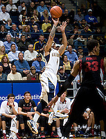 Justin Cobbs of California shoots the ball during the game against Stanford at Haas Paviliion in Berkeley, California on March 6th, 2013.  Stanford defeated California, 83-70.