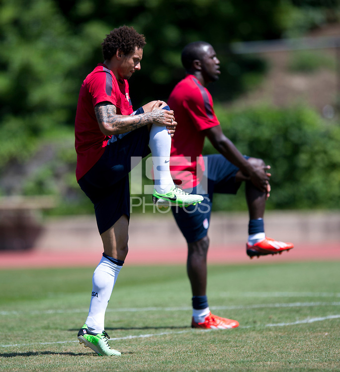 Jermaine Jones of the USMNT stretches during practice at Reeves field at American University in Washington, DC.