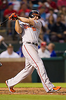 Baltimore Orioles first baseman Chris Davis #19 swings during the Major League Baseball game against the Texas Rangers on August 21st, 2012 at the Rangers Ballpark in Arlington, Texas. The Orioles defeated the Rangers 5-3. (Andrew Woolley/Four Seam Images).