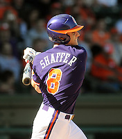Infielder Richie Shaffer (8) of the Clemson Tigers in a game against the Michigan State Spartans Saturday, Feb. 20, 2010, at Fluor Field at the West End in Greenville, S.C. Shaffer is ranked No. 30 on Baseball America's list of top college freshmen prospects. Photo by: Tom Priddy/Four Seam Images