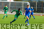 Kerry's Fontonatus Ankomah putting pressure on  Dean Larkin of Waterford in the U17 soccer league game on Sunday.