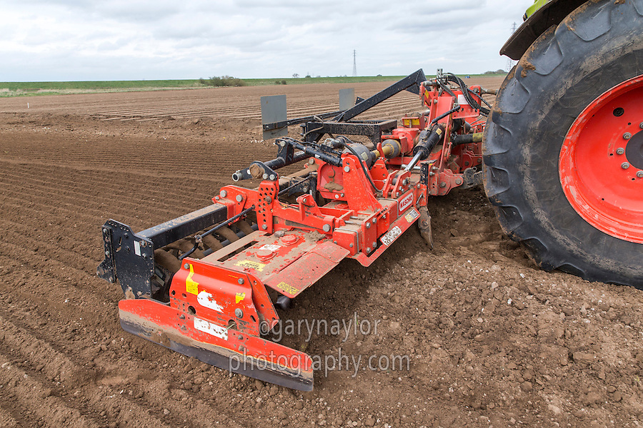Cultivating for potatoes using a 6m Maschio power harrow - Lincolnshire, April