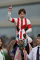 Reine Minoru (Kenichi Ikezoe),<br /> APRIL 9, 2017 - Horse Racing :<br /> Jockey Kenichi Ikezoe poses with Reine Minoru after winning the Oka Sho (Japanese 1000 Guineas) at Hanshin Racecourse in Hyogo, Japan. (Photo by Eiichi Yamane/AFLO)