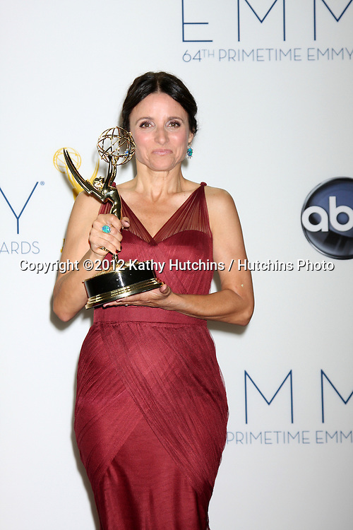 LOS ANGELES - SEP 23:  Julia Louis-Dreyfus in the press room of the 2012 Emmy Awards at Nokia Theater on September 23, 2012 in Los Angeles, CA