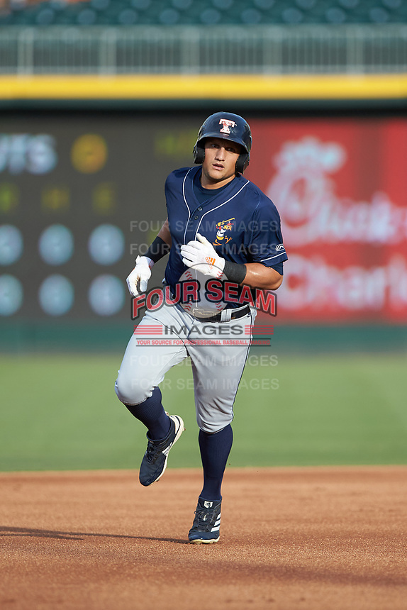Mikie Mahtook (3) of the Toledo Mud Hens rounds the bases after hitting a home run against the Charlotte Knights at BB&T BallPark on June 22, 2018 in Charlotte, North Carolina. The Mud Hens defeated the Knights 4-0.  (Brian Westerholt/Four Seam Images)