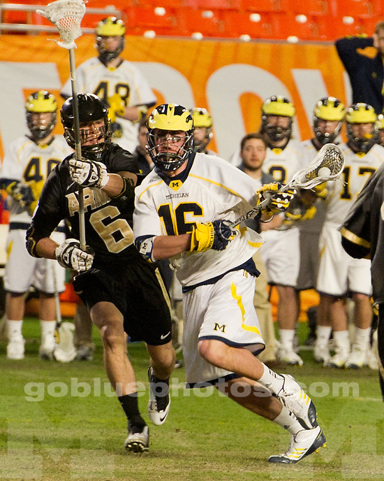 The University of Michigan men's lacrosse team lost to Army, 12-1, at Sun Life Stadium in Miami, Fla., on March 2, 2013.