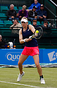 June 12th 2017,  Nottingham, England; WTA Aegon Nottingham Open Tennis Tournament day3; Julia Boserup of the USA hits a backhand in her match against Laura Robson of Great Britain which she won 6-4 6-3