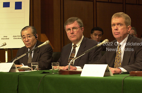 Bridgestone/Firestone executives testify before the U.S. Senate Commerce Committee on the Firestone tire recall  in Washington, D.C. on September 12, 2000. Left to Right: Masatoshi Ono, Chief Executive Officer, Bridgestone/Firestone; Robert J. Wyant, Vice President for Quality Assurance, Bridgestone/Firestone; and John Lampe, Executive Vice President for Sales in the After Market, Bridgestone/Firestone..Credit: Ron Sachs / CNP