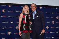 Los Angeles, CA - Thursday January 12, 2017: Tyler Lussi, NWSL Commissioner Jeff Plush during the 2017 NWSL College Draft at JW Marriott Hotel.