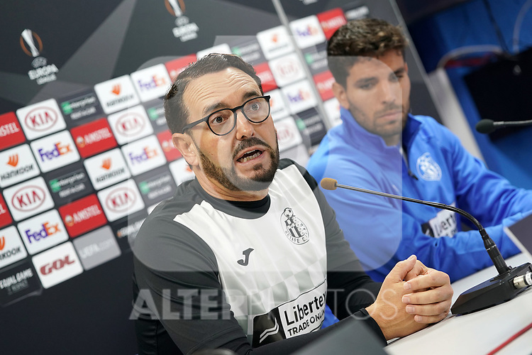 Getafe CF's coach Jose Bordalas (l) and Leandro Cabrera in press conference after training session. October 23,2019.(ALTERPHOTOS/Acero)