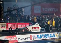 Nov 3, 2019; Las Vegas, NV, USA; NHRA top fuel driver Steve Torrence during the Dodge Nationals at The Strip at Las Vegas Motor Speedway. Mandatory Credit: Mark J. Rebilas-USA TODAY Sports