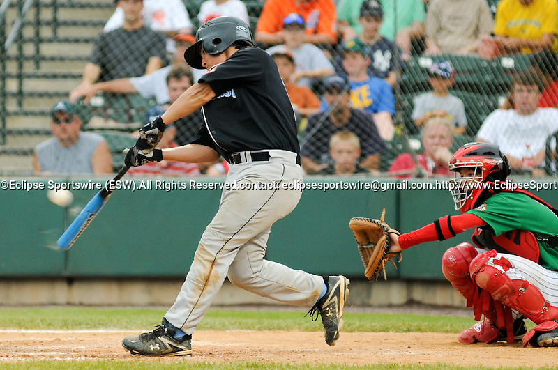 Aberdeen MD: Tampa's Darren Miller makes contact with a pitch during Saturday's championship game against Mexico at the 2009 Cal Ripken World Series