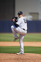 New York Yankees relief pitcher Luis Cessa (85) delivers a pitch during a Grapefruit League Spring Training game against the Toronto Blue Jays on February 25, 2019 at George M. Steinbrenner Field in Tampa, Florida.  Yankees defeated the Blue Jays 3-0.  (Mike Janes/Four Seam Images)