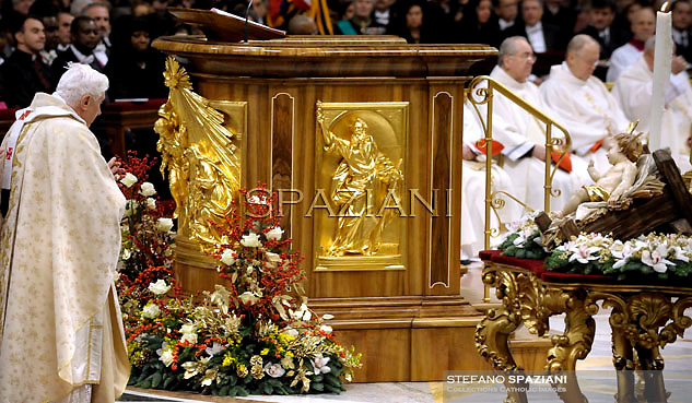 "Pope Benedict XVI celebrates Christmas mass at St. Peter's Basilica in Vatican City on December 24, 2011, to mark the nativity of Jesus Christ. Pope Benedict XVI hailed Christ's humility, urging the faithful to look beyond the Christmas ""glitter"" and ""enlightened reason"", and issued a powerful message for peace."
